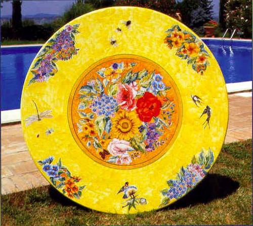 "48"" Round Floral Bliss, hydra iron base, 4 hyrda iron arm chairs"