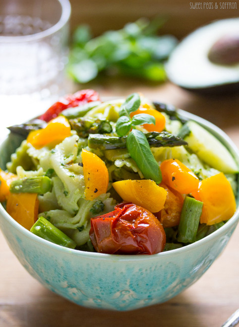 AVOCADO PESTO PASTA SALAD WITH ROASTED SUMMER VEGETABLES - (Free Recipe below)