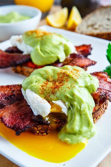 Eggs Benedict with Bacon, Avodaise (Avocado Hollandaise) and Harissa - (Free Recipe below)