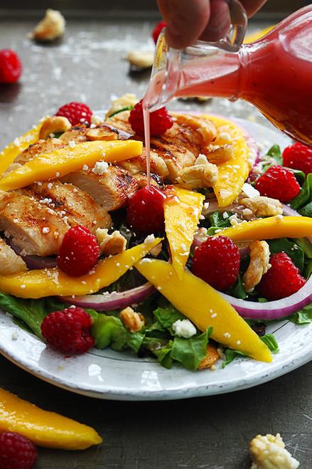 RASPBERRY MANGO CHICKEN CASHEW SALAD - (Free Recipe below)
