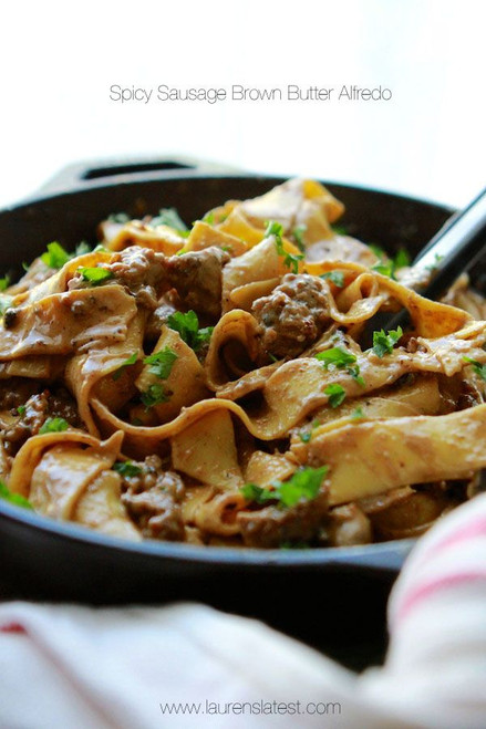 Spicy Sausage Brown Butter Alfredo Pasta - (Free Recipe below)