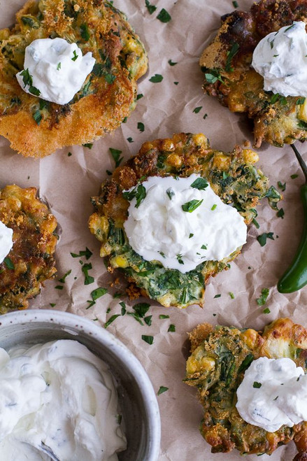 Spinach and Artichoke Corn Fritters with Brie and Sweet Honey Jalapeno Cream - (Free Recipe below)