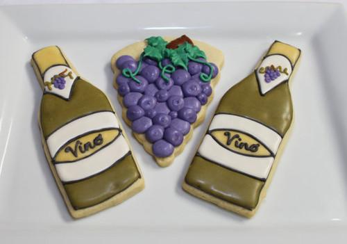 Wine Bottles and Vineyard Grapes Sugar Cookies - One Dozen