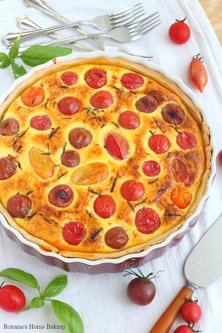 Mediterranean Cherry Tomato Quiche - (Free Recipe below)