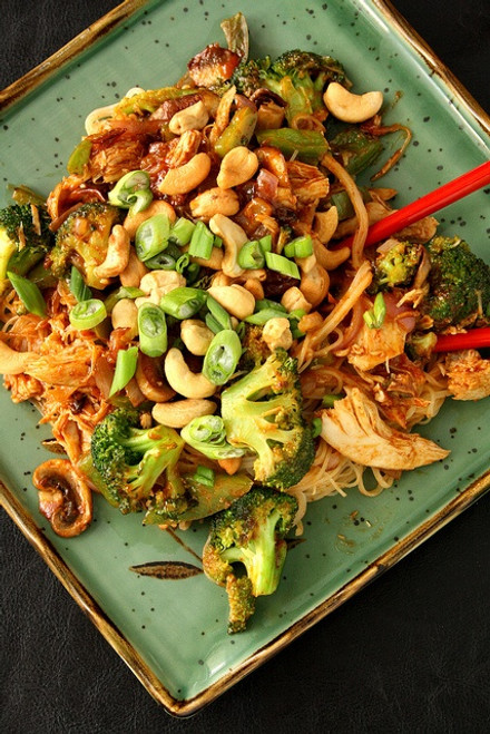 Spicy Peanut Chicken with Rice Noodles - (Free Recipe below)