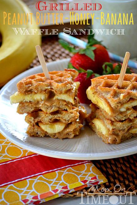 Grilled Peanut Butter Honey Banana Waffle Sandwich - (Free Recipe below)