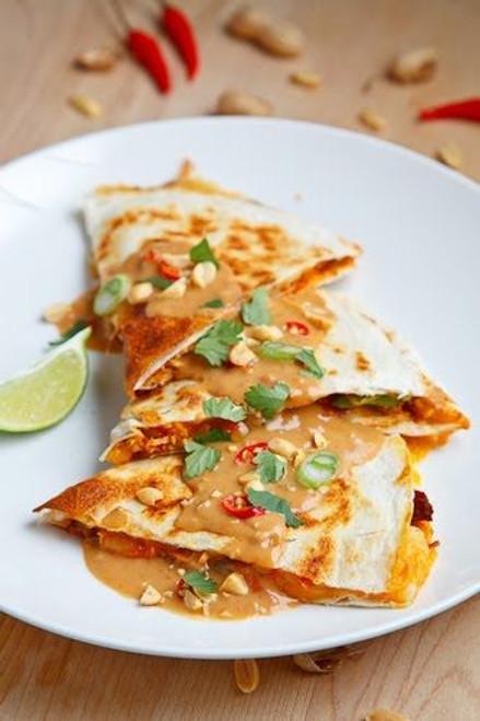 Spicy Peanut Chicken Quesadillas - (Free Recipe below)