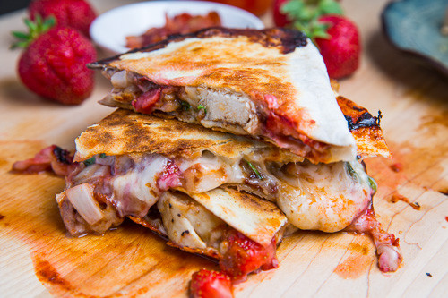 Strawberry Balsamic Grilled Chicken and Bacon Quesadillas - (Free Recipe below)