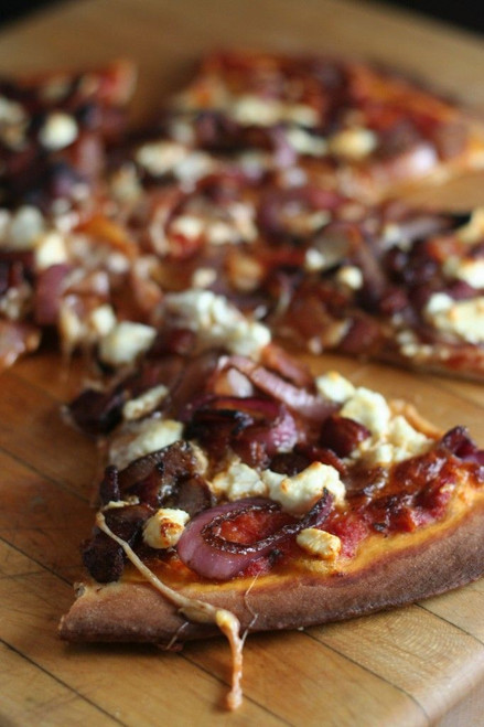 BALSAMIC ONION, BACON, AND GOAT CHEESE PIZZA - (Free Recipe below)