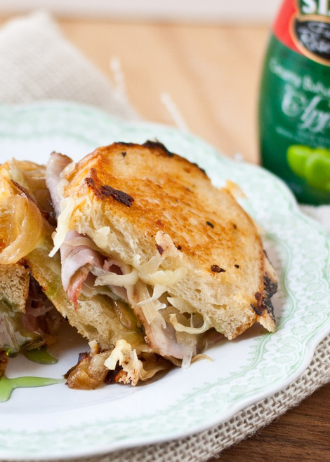 Gruyere, Ham, and Caramelized Onion Grilled Cheese with Apple Balsamic Glaze - (Free Recipe below)
