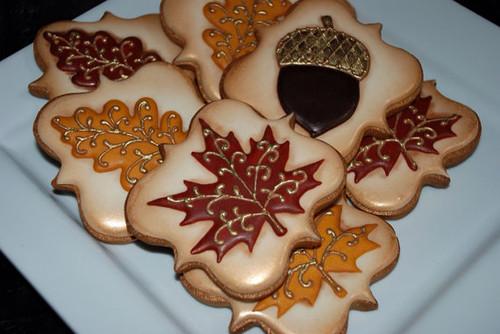 Elegant Autumn Fall Leaves Cookies - One Dozen