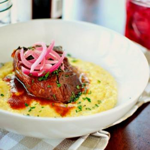 Braised Pork Shoulder with Cheesy Fontina Grits - (Free Recipe below)