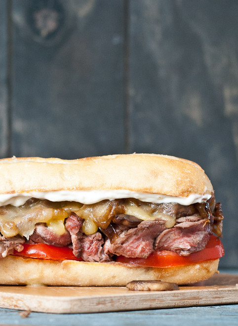 Grilled Flank Steak Sandwiches with Caramelized Onions and Mushrooms - (Free Recipe below)