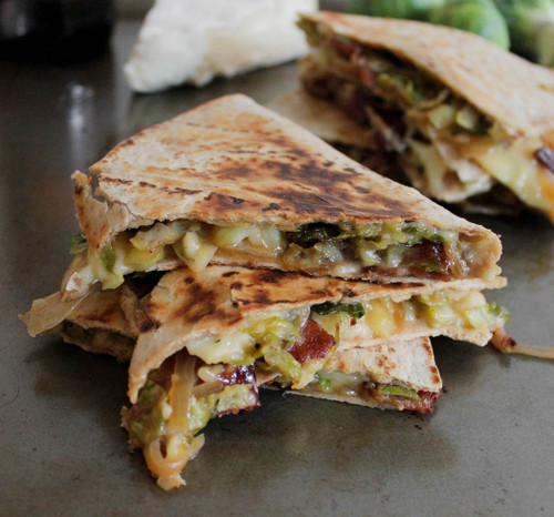 Brie Quesadillas with Brussels Sprouts, Bacon and Beer-Glazed Onions - (Free Recipe below)