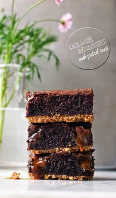 Caramel Brownies with Pretzel Crust - One Dozen