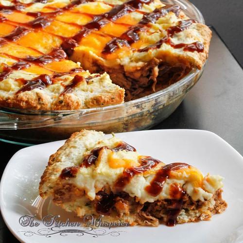 Whiskey Pulled Pork Shepherd's Pie with Cheddar Biscuit Crust - (Free Recipe below)