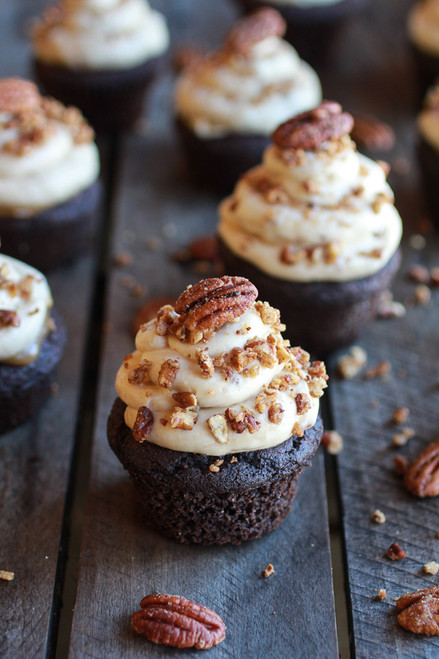 Chocolate Bourbon Pecan Pie Cupcakes with Butter Pecan Frosting - One Dozen