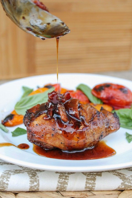 Balsamic Grilled Chicken with Spicy Honey Bacon Glaze - (Free Recipe below)