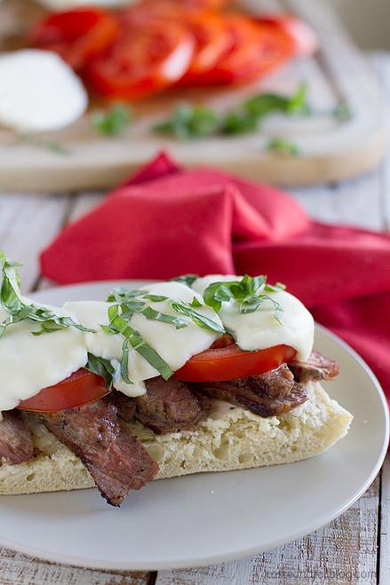 Open Face Caprese Steak Sandwich - (Free Recipe below)