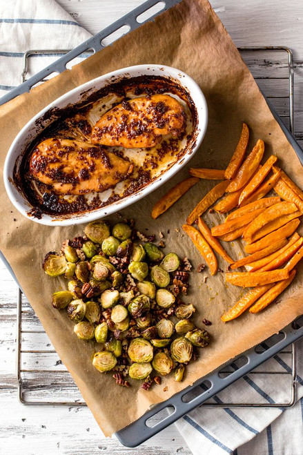 Maple and Mustard Glazed Chicken with Roasted Sweet Potatoes and Brussels Sprouts - (Free Recipe below)