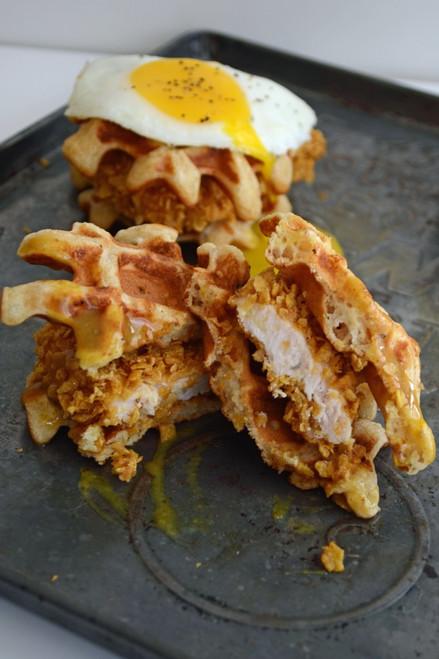 Chicken and Waffle Sliders with Honey Mustard - (Free Recipe below)