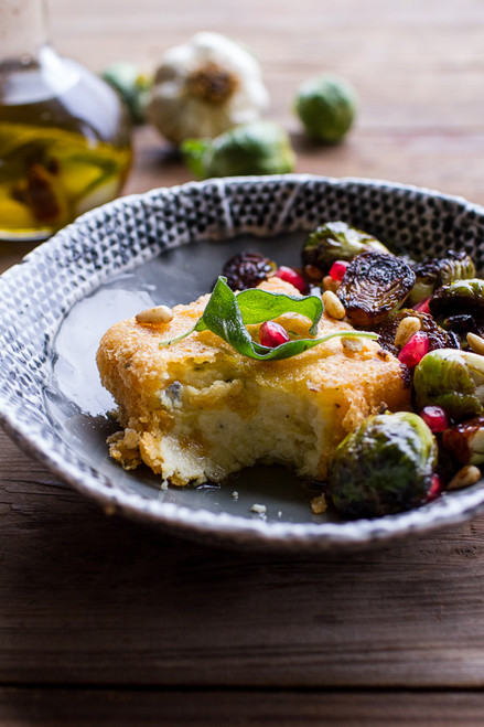 Cheesy Fried Polenta with Balsamic Brussels Sprouts - (Free Recipe below)