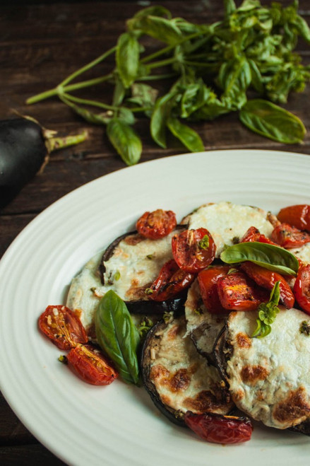 Roasted Tomatoes and Cheesy Eggplant - (Free Recipe below)