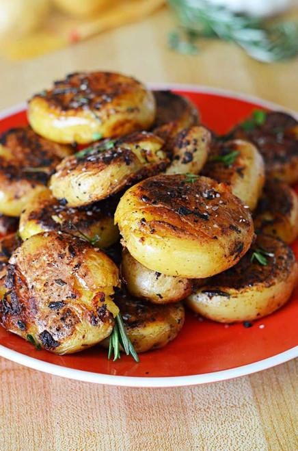 Crispy Outside Creamy Inside Garlic Herb Potatoes - (Free Recipe below)