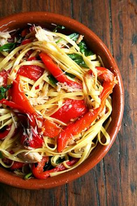 Linguini with Roasted Red Peppers, Crabmeat and Basil - (Free Recipe below)