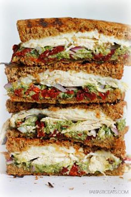 Chicken, Sun-dried Tomato and Asparagus Pesto Sandwich - (Free Recipe below)