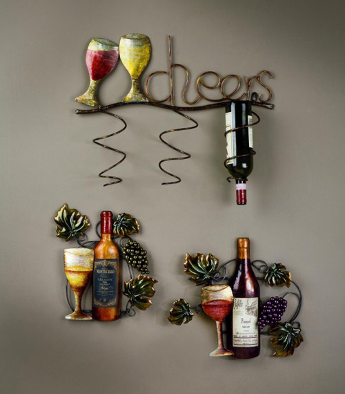 """Cheers"" 3 Place Wall Wine Bottle Holder"