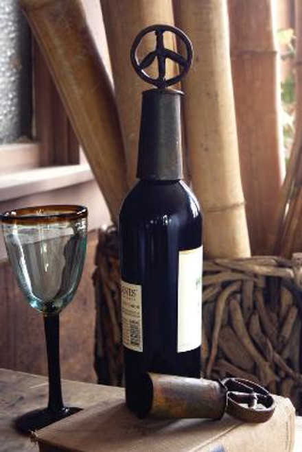 Recycled Peace Sign Wine Topper