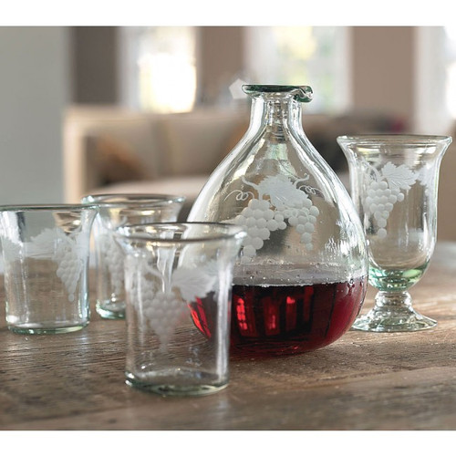 Etched Wine Decanter and Tumblers