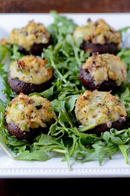 Crab and Brie Stuffed Mushrooms - (Free Recipe below)