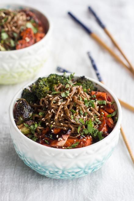 Hoisin Caramelized Salmon and Sesame Soba Noodle Bowls - (Free Recipe below)