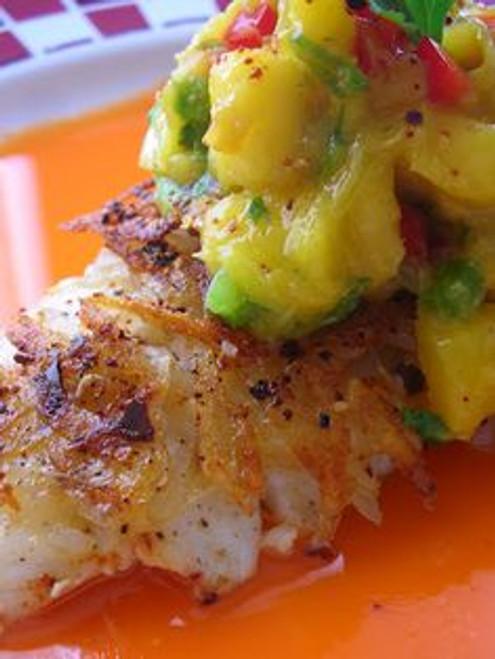 Potato Cascabel Crusted Halibut with Mango Carrot Broth and Mango Salsa - (Free Recipe below)