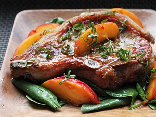 Pork Chops with Fresh Peaches and Basil - (Free Recipe below)