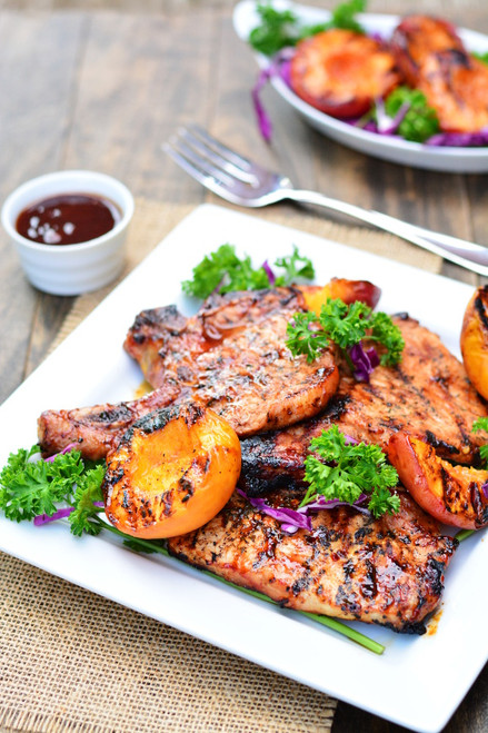 BARBECUED PORK CHOPS WITH GRILLED PEACHES - (Free Recipe below)