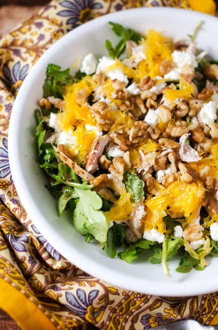 Chicken Arugula Salad with Orange and Goat Cheese - (Free Recipe below)