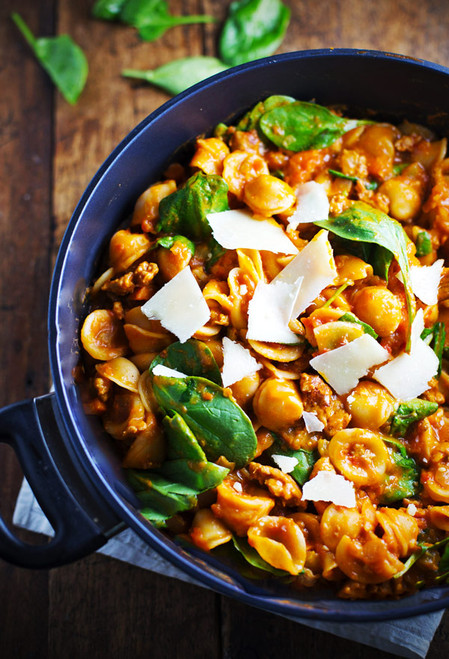 PASTA E FAGIOLI with Chicken Sauge, Cannellini Beans, Spinach - (Free Recipe below)