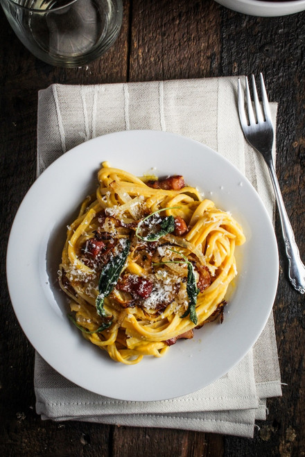 Butternut Squash Carbonara with Fried Sage and Caramelized Onions - (Free Recipe below)
