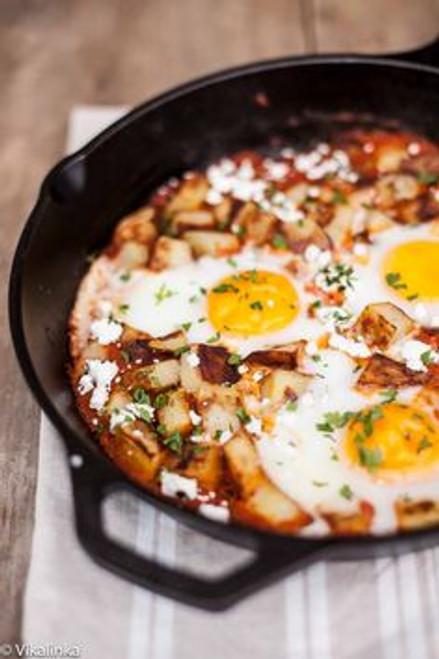 Spanish Hash Patatas Bravas and Eggs - (Free Recipe below)