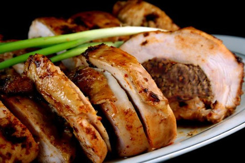 Maple Brined, Ancho-Scallion Boneless Turkey Breast with Apple-Butter Pecan Stuffing - (Free Recipe below)