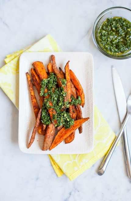 SWEET POTATOES WITH CHIMICHURRI - (Free Recipe below)