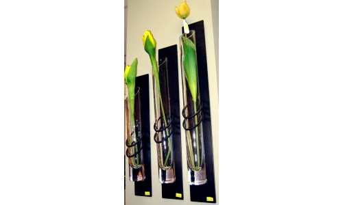 Set of Three Metal Glass Wall Vases
