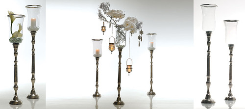 Peyton Metal Glass Candle Vase Stands - Set of 2