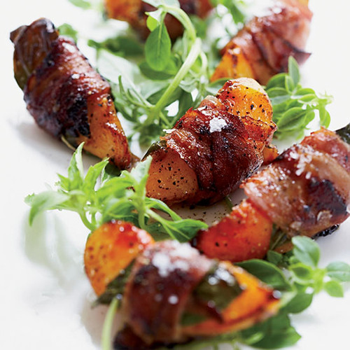 Pancetta Wrapped Peaches with Basil and Aged Balsamic - (Free Recipe below)