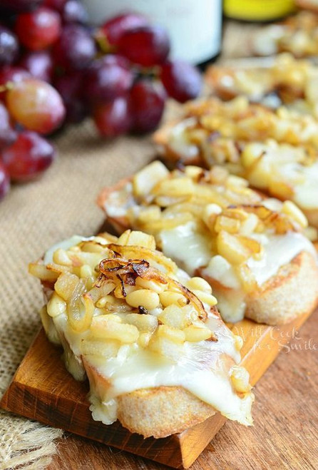 Brie Crostini w/ Caramelized Onions, Pear and Pine Nuts - (Free Recipe below)