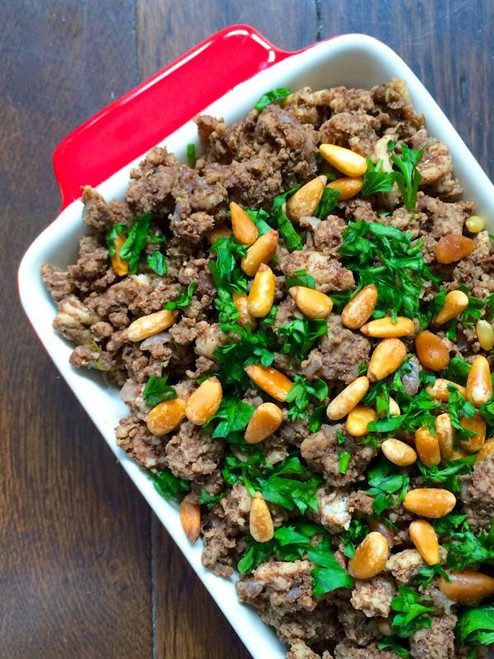LEBANESE HUSHWEE - MEAT WITH CINNAMON AND TOASTED PINE NUTS - (Free Recipe below)