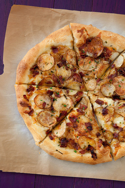 Bacon, Potato and Caramelized Onion Pizza - (Free Recipe below)